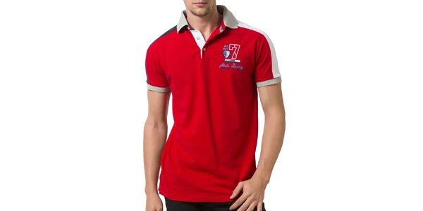 Pánské červené polo tričko se světle šedým límečkem Giorgio Valenti