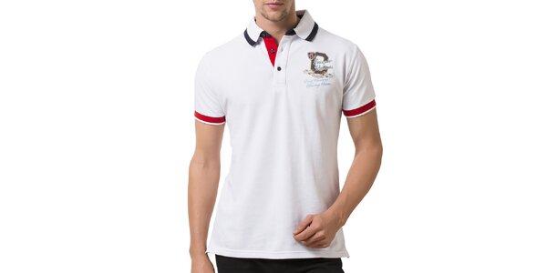 Pánské bílé polo tričko s červenými manžetami Giorgio Valenti