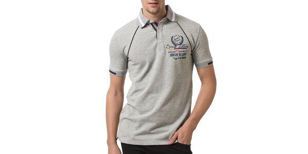Pánské světle šedé polo tričko s výšivkou Giorgio Valenti