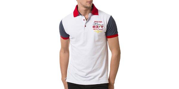 Pánské bílé polo tričko s krátkými rukávy Giorgio Valenti