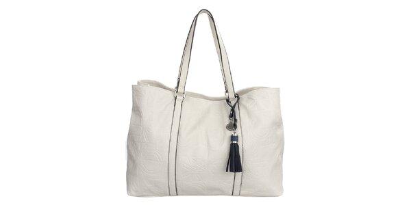 Dámská krémově bílá kabelka s reliéfním potiskem a střapcem United Colors of…