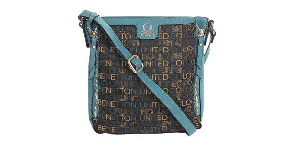 Dámská kabelka s nápisy a modrými prvky United Colors of Benetton
