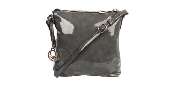 Dámská lesklá kabelka v šedé barvě United Colors of Benetton