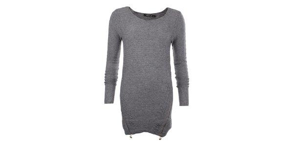 Dámský šedý svetr se zipy JOYX