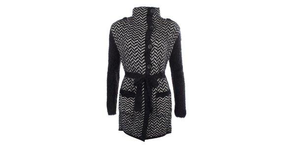 Dámský černý vzorovaný svetr s knoflíky a zavazováním v pase MISS @ MAX