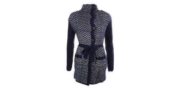 Dámský modrý vzorovaný svetr s knoflíky a zavazováním v pase MISS @ MAX