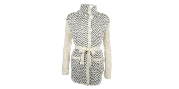 Dámský béžový svetr s šedým vzorem, knoflíky a zavazováním v pase MISS @ MAX
