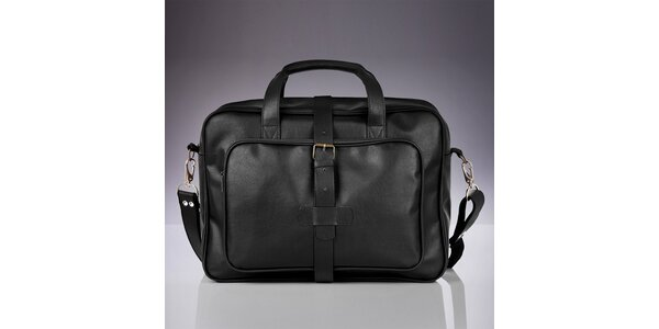 Pánská černá taška s vnějšími kapsami Solier