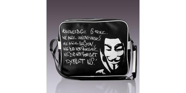 Pánská černá taška s bílým nápisem Solier
