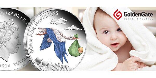 Pamětní stříbrná mince k narození miminka