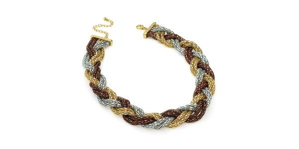 Dámský tříbarevný proplétaný náhrdelník Carmen Luna