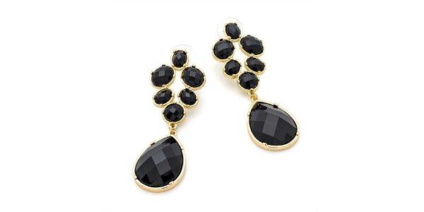 Dámské visací náušnice s černými krystalky Carmen Luna
