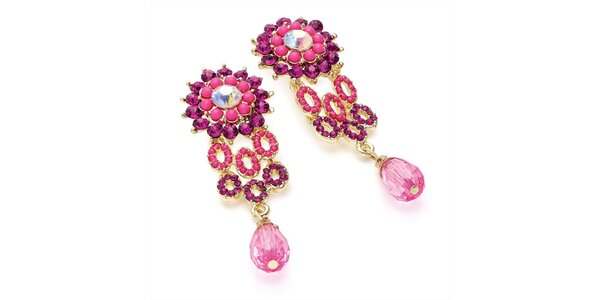 Dámské náušnice s fuchsiovými krystalky Carmen Luna