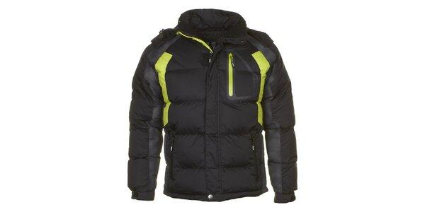 Pánská černá prošívaná bunda se zelenými prvky Utopik