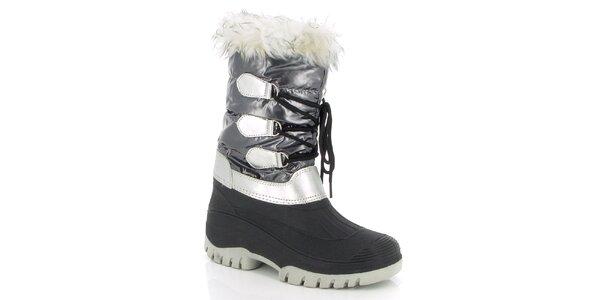 Dámské šedé zimní boty s kožíškem E2ko