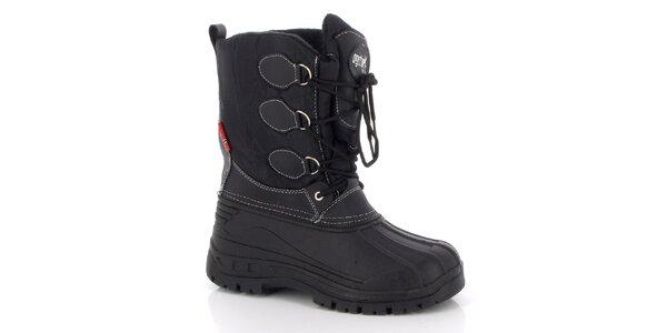 Dámské černé zimní boty se šněrováním E2ko