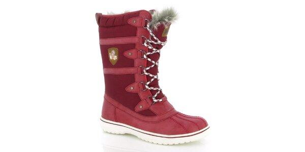 Dámské červené zimní boty s kožíškem E2ko