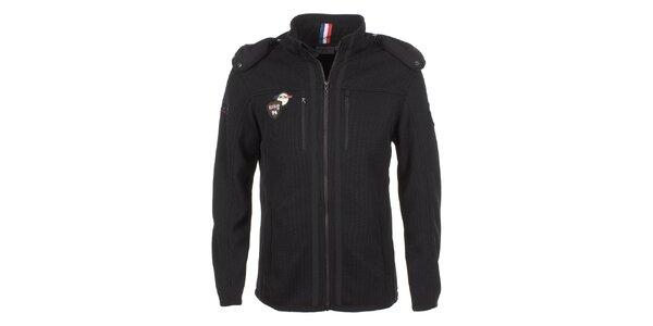 Pánská černá bunda s kapucí E2ko