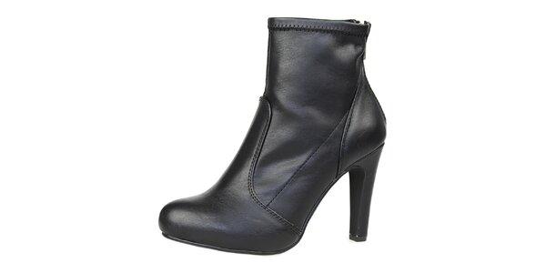 Dámské černé kotníčkové boty se zlatým zipem Bullboxer