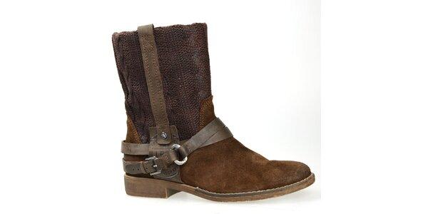 Dámské hnědé boty s plastickým vzorem Bullboxer