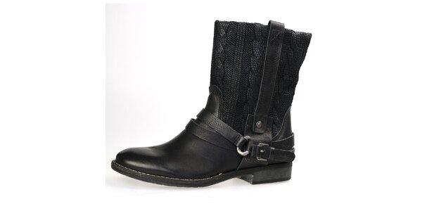 Dámské černé boty s plastickým vzorem Bullboxer