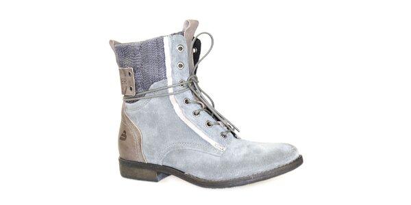Dámské šedé kotníkové boty se šněrováním Bullboxer