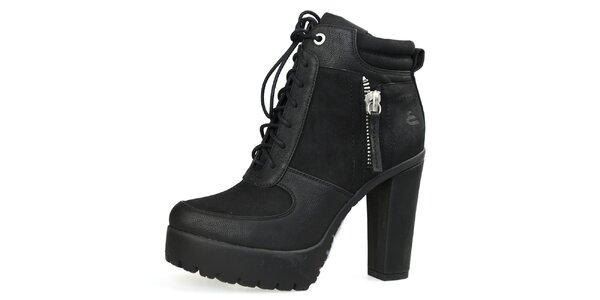Dámské černé šněrovací boty na vysokém podpatku Bullboxer