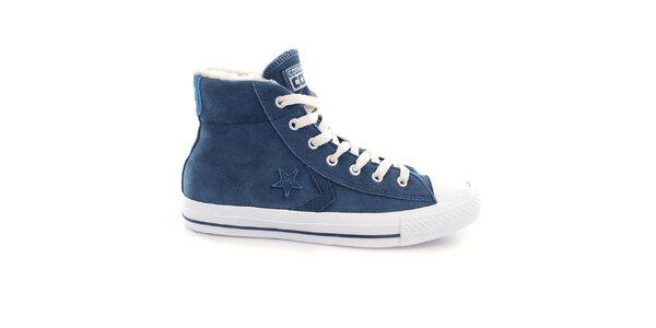 Modré kotníkové tenisky s kožíškem Converse