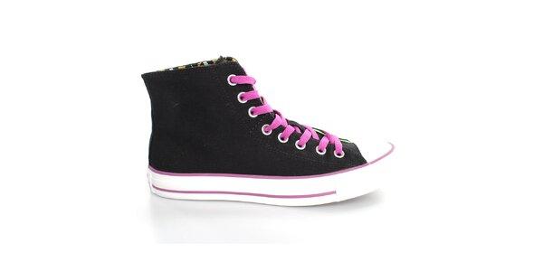 Dámské černé textilní tenisky s barevnými detaily Converse