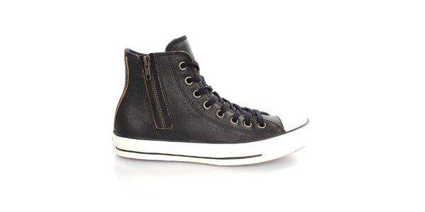 Dámské černé kotníkové kožené tenisky Converse