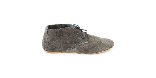 Dámské šedé semišové kotníčkové boty Eye