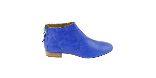 Dámské nebesky modré kožené kotníčkové boty na zip Eye
