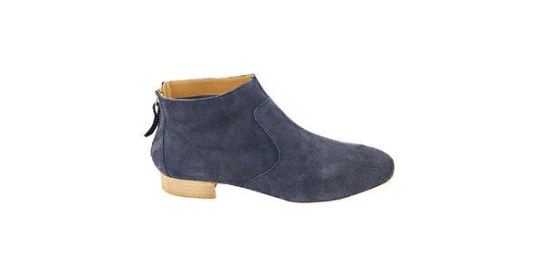 Dámské šedo-modré semišové kotníčkové boty na zip Eye
