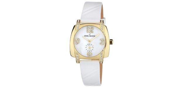 Dámské bílé hodinky s malými kamínky Daniel Hechter