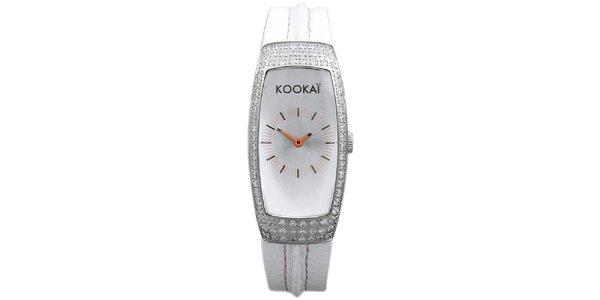 Dámské bílé hodinky s malými krystalky Kookai