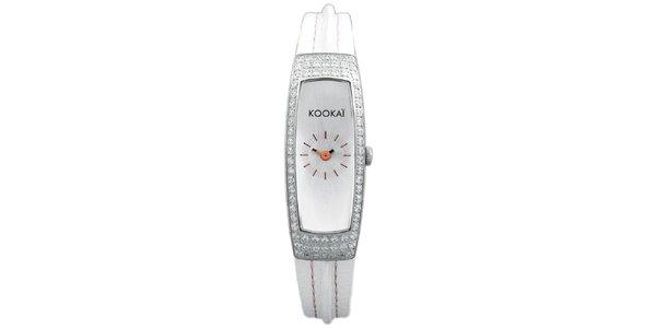 Dámské úzké bílé hodinky s malými krystalky Kookai