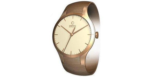 Dámské minimalistické hodinky v barvě růžového zlata Obaku
