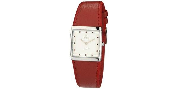 Dámské hodinky s červeným koženým řemínkem Obaku