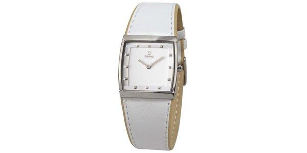 Dámské bílé hodinky s hranatým ciferníkem Obaku