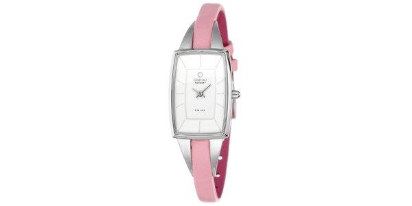 Dámské hodinky s úzkým růžovým řemínkem Obaku