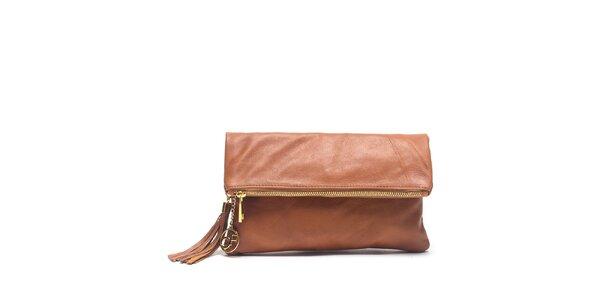 Dámská koňakově hnědá kožená kabelka do ruky Carla Ferreri