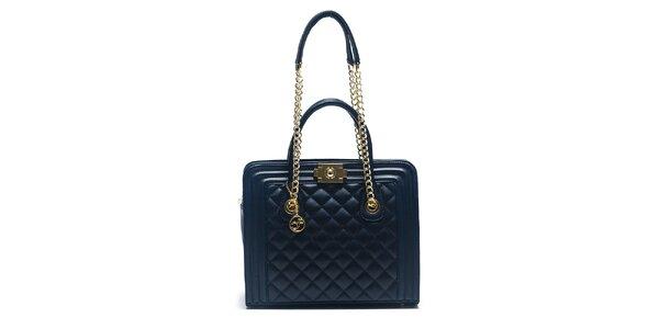 Dámská modrá kožená kabelka s řetízkovými uchy Carla Ferreri
