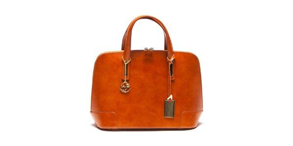 Dámská koňaková kožená kufříková kabelka Carla Ferreri