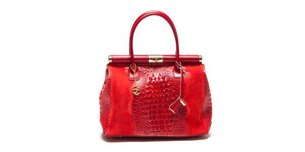 Dámská kufříková kabelka v červené barvě Carla Ferreri