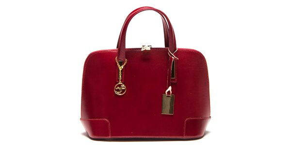 Dámská červená kožená kufříková kabelka Carla Ferreri