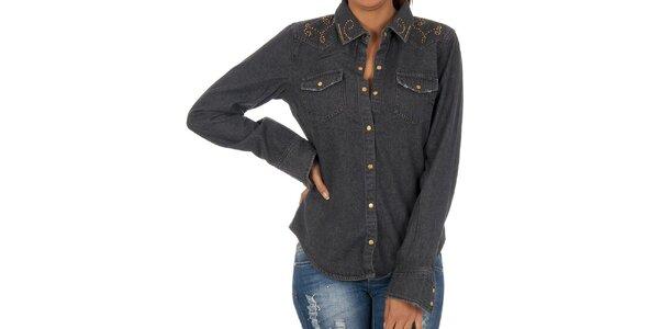 Dámská černá košile s dekorativní aplikací Vila Clothes