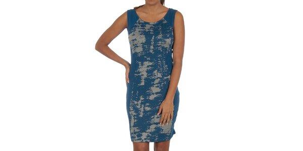 Dámské modré šaty se vzorem Vila Clothes
