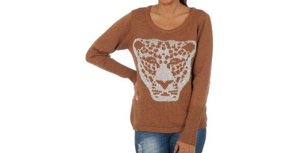 Dámský hnědý svetr s leopardem Vila Clothes
