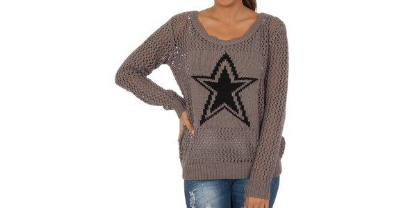 Dámský šedý perforovaný svetr s hvězdou Vila Clothes