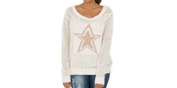 Dámský sněhově bílý perforovaný svetr s hvězdou Vila Clothes